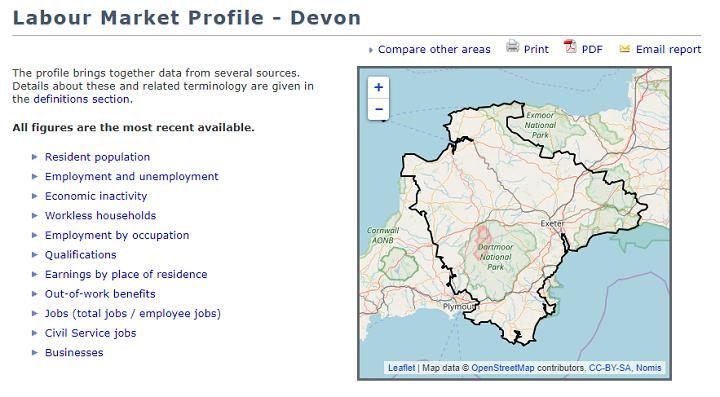 Nomis - Devon Labour Market
